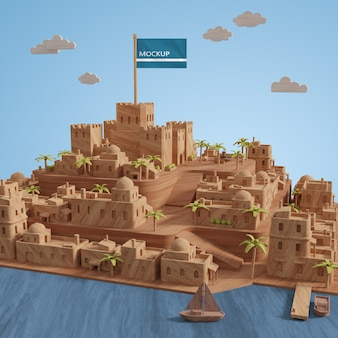 Миниатюрная 3d модель зданий города с макетом
