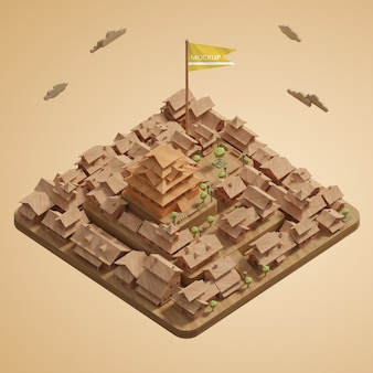Макет 3d модель города мира день миниатюра