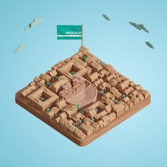 Концепция городов мира день 3d модель миниатюра