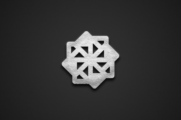 シルバー3dロゴモックアップ
