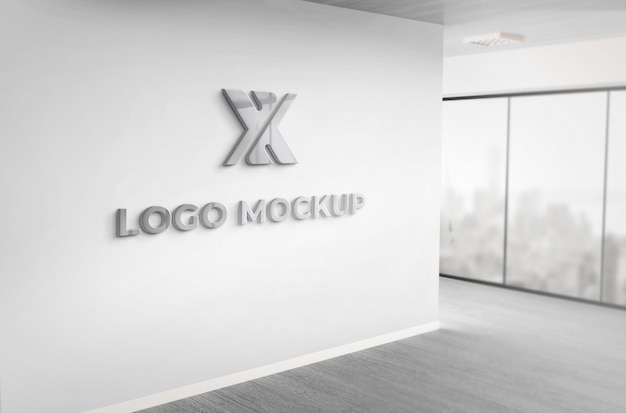 リアルな3dダークグレーのロゴモックアップオフィスの壁