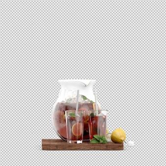 Напитки в 3d изолированных визуализации