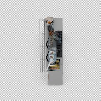 Витрина с едой 3d визуализации
