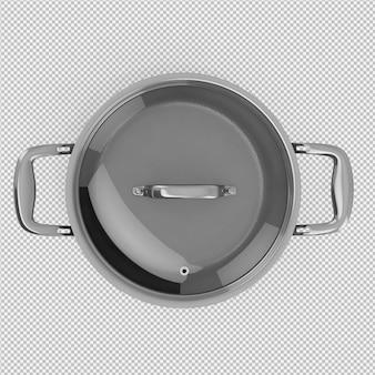 Изометрическая кастрюля 3d изолированных визуализации
