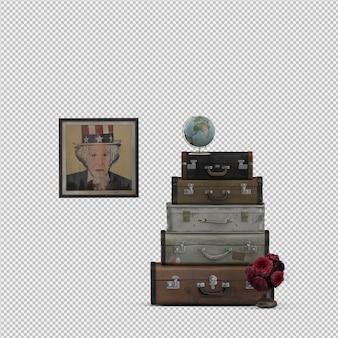 Изометрические чемоданы 3d изолированных визуализации