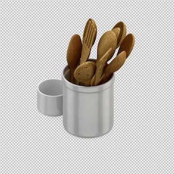 Изометрические кухонная утварь 3d визуализации
