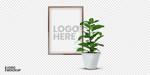 3d-рендеринг растений и макет логотипа