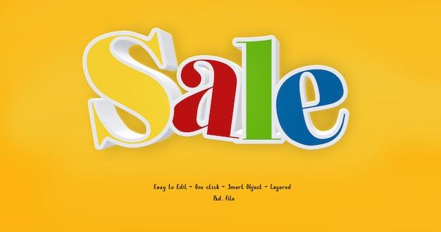 3d текстовый эффект стиль продажи на желтом