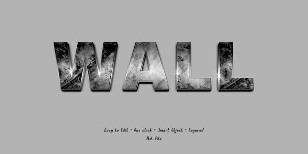 Макет 3d-эффект шрифта алфавит с текстурой стены