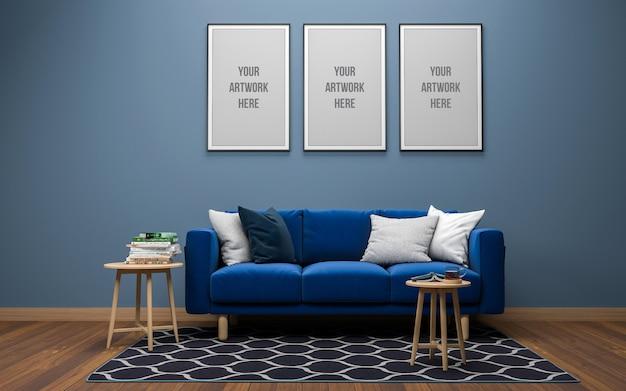 Реалистичный 3d-рендеринг интерьера современной гостиной
