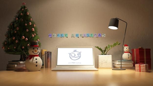 クリスマスの日の作業テーブルの3dレンダリング画像