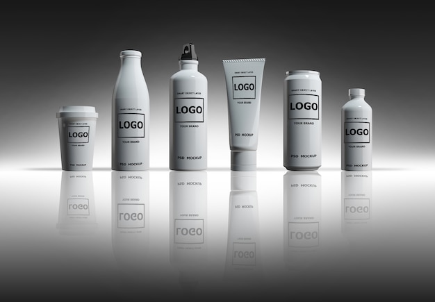 Макет изображения 3d-рендеринга белых бутылок и банок
