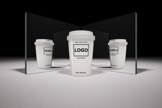 Макет 3d-рендеринга белой кофейной чашки
