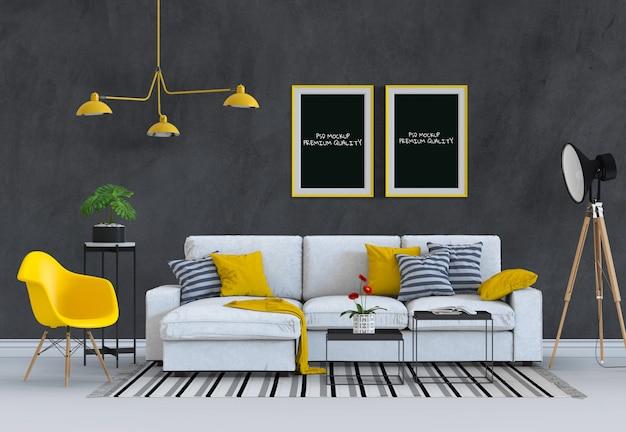 Макет плакатной рамы в гостиной и диване, 3d-рендеринг