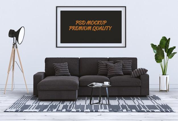 Макет кадр-афишу во внутренней гостиной и диван, 3d визуализации