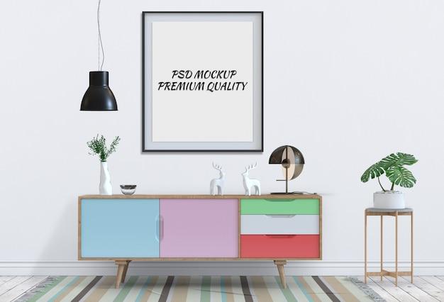 Интерьер гостиной с буфетом и макет пустой плакат. 3d визуализация