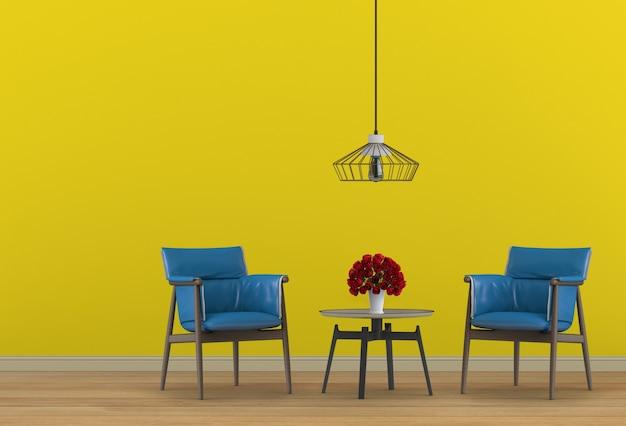 肘掛け椅子付きのリビングエリアのインテリアデザイン。 3dレンダリング