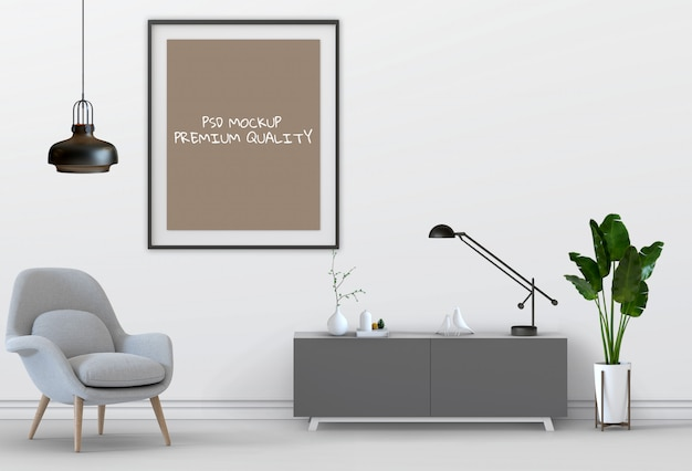 3d представляют живущего внутреннего плаката пробела модель-макета комнаты.