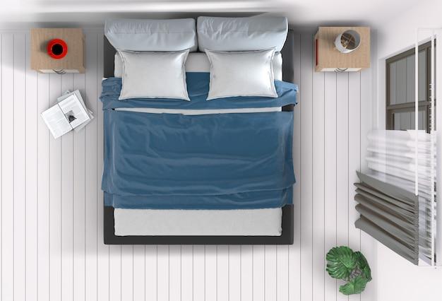 インテリアの寝室の平面図です。 3dレンダリング