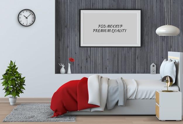 空白のポスターインテリアベッドルームをモックアップします。 3dレンダリング