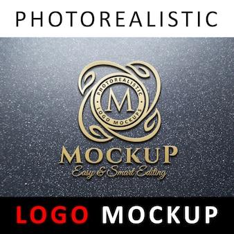 ロゴモックアップ - グラナイトウォールの3dゴールデンロゴ