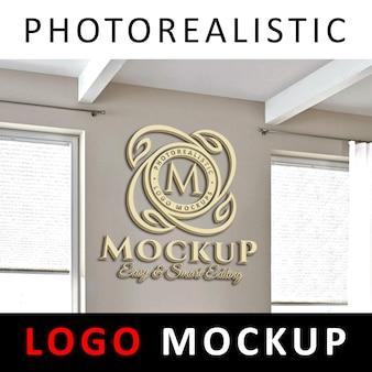 ロゴモックアップ - オフィスウォールの3dゴールデンロゴ