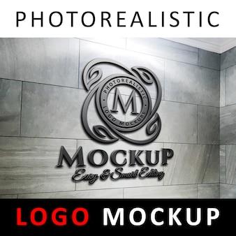 ロゴモックアップ -  3dブラックスチールメタリックロゴ、マーブルウォール
