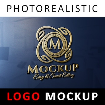 ロゴモックアップ - オフィスウォールの3dゴールデンロゴサイン