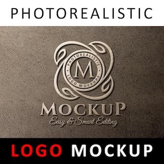 ロゴモックアップ - 壁の3dロゴサイン