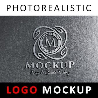ロゴモックアップ - グレイウォールの3dメタリックロゴサイン