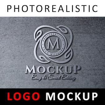 ロゴモックアップ - コンクリートの壁に3dメタリックロゴの看板