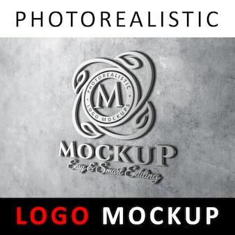 ロゴモックアップ - 灰色のコンクリートの壁に3dメタリックロゴの看板