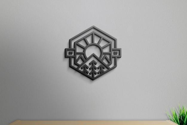 ロゴモックアップ3d壁