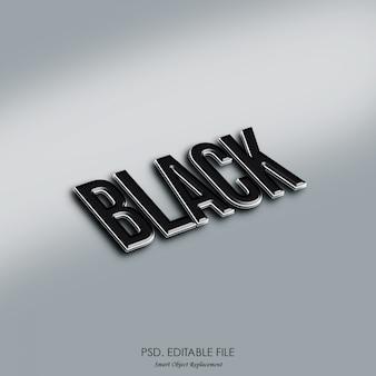 Макет черный 3d текстовый эффект