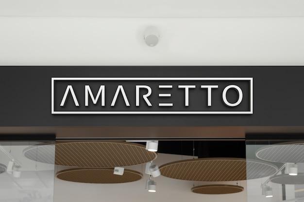 Макет элегантного белого логотипа в виде 3d знака на витрине магазина в торговом центре или торговом центре