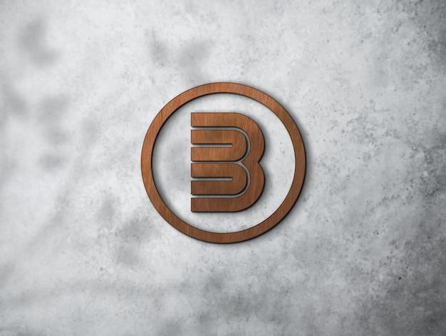 ロゴモックアップウッド3d壁