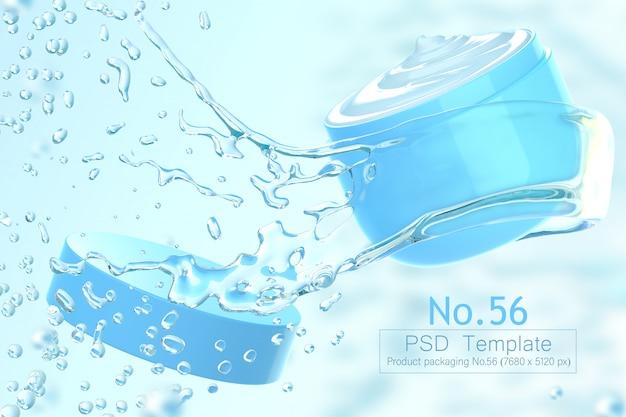 Продукт и вода всплеск фон шаблон 3d визуализации