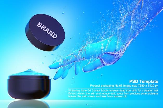 Черный косметический продукт на синем фоне воды 3d визуализации
