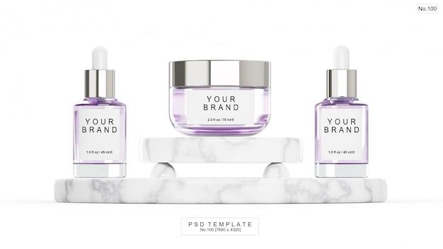 Фиолетовый косметический продукт с мраморным камнем. 3d визуализация