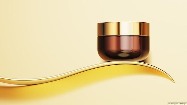 Роскошный продукт с золотой лентой. 3d визуализация