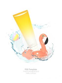 Упаковка продукта розового фламинго спасательный круг с брызг воды на белом фоне 3d визуализации