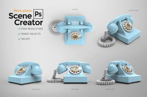 レトロな電話。シーン作成者。 3d