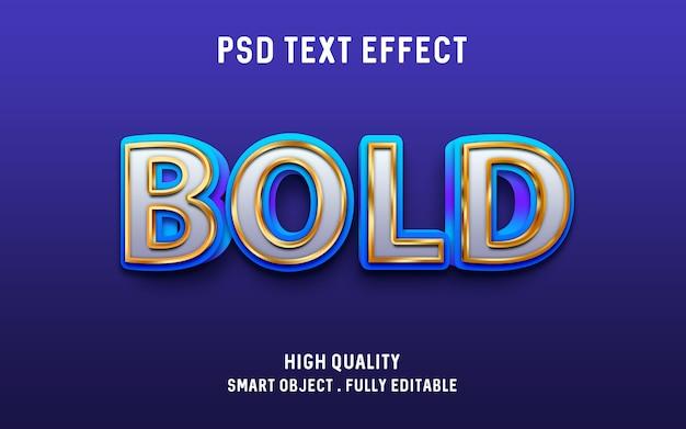 3d жирный синий с золотым контуром эффект текста