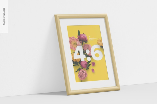 4:6 portrait frame mockup, leaned