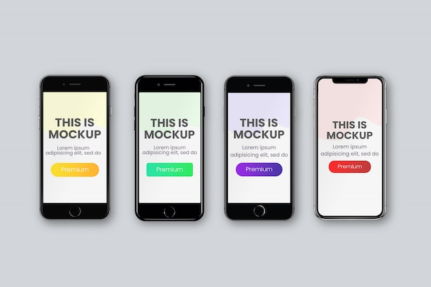 4 different smartphone screen mockup