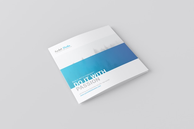 4-fold brochure mockup - square