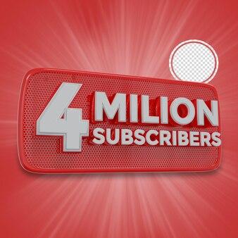 400万人の加入者3dレンダリング