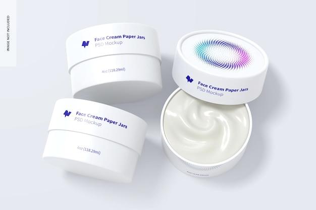 4 oz face cream jars set mockup