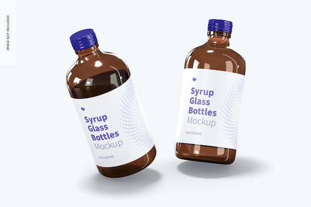 4 oz syrup glass bottles mockup, falling