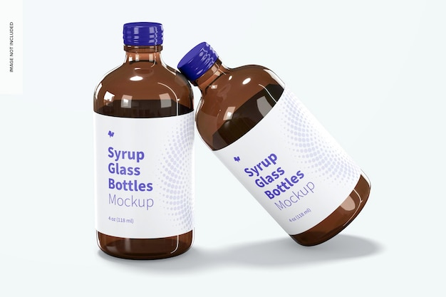 4 oz syrup glass bottles mockup